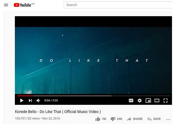 Korede Bello become first Nigerian artiste to get 1 million YouTube Likes on his track released on YouTube